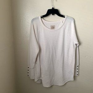 Chaser Sweater White Button Cuff Long Sleeve